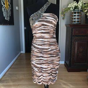 Jovani One Strap Leopard Ruched Jeweled Dress 8